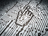 Web development concept: circuit board with Mouse Cursor — Stock Photo