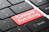 Finance concept: Crowd Funding on computer keyboard background — Foto Stock