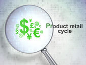 Marketing concept: Finance Symbol and Product retail Cycle with optical glass — Stock Photo
