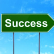 Stock Photo: Business concept: Success on road sign background