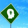 Stock Photo: Education concept: Head With Light Bulb on road sign background