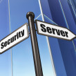 Security concept: sign Server Security on Building background — Stockfoto
