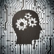 Stock Photo: Marketing concept: circuit board with Head With Gears