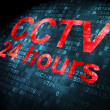 Security concept: CCTV 24 hours on digital background — Stockfoto