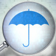 Security concept: Umbrella with optical glass on digital background — Photo