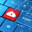 Cloud technology concept: Cloud With Keyhole on computer keyboard background — Stock fotografie