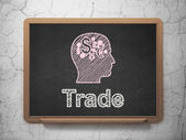 Business concept: Head With Finance Symbol and Trade on chalkboard background — Stock fotografie