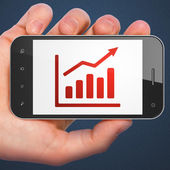 Advertising concept: Growth Graph on smartphone — Stock Photo