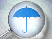 Security concept: Umbrella with optical glass on digital background — Foto Stock