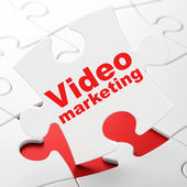 Finance concept: Video Marketing on puzzle background — Foto de Stock
