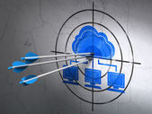 Cloud technology concept: arrows in Cloud Network target on wall background — Stock Photo