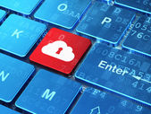 Cloud technology concept: Cloud With Keyhole on computer keyboard background — Stock Photo
