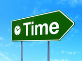 Time concept: Time and Clock on road sign background — Foto Stock
