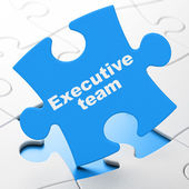 Finance concept: Executive Team on puzzle background — Stock Photo