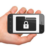 Business concept: Folder With Lock on smartphone — Stock Photo