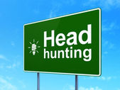 Finance concept: Head Hunting and Energy Saving Lamp on road sign background — Stock Photo
