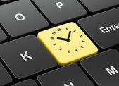 Timeline concept: Clock on computer keyboard background — Zdjęcie stockowe