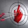 Marketing concept: arrows in Mouse Cursor target on wall background — Stock Photo