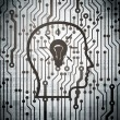 Stock Photo: Advertising concept: circuit board with Head With Lightbulb