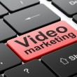 Finance concept: Video Marketing on computer keyboard background — Foto Stock