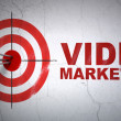 Business concept: target and Video Marketing on wall background — Zdjęcie stockowe #36781165