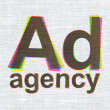 Advertising concept: Ad Agency on fabric texture background — Stock Photo