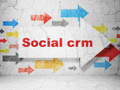 Business concept: arrow with Social CRM on grunge wall background — Foto Stock