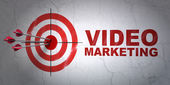 Business concept: target and Video Marketing on wall background — Stock Photo