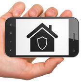 Conceito de negócio: casa em smartphone — Foto Stock
