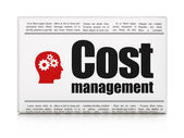 Business concept: newspaper with Cost Management and Head With Gears — Stock Photo
