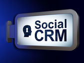 Business concept: Social CRM and Head With Keyhole on billboard background — Stock Photo