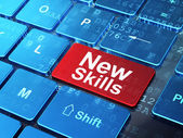 Education concept: New Skills on computer keyboard background — Stock Photo