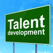 Education concept: Talent Development on road sign background — Stock Photo