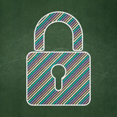 Protection concept: Closed Padlock on chalkboard background — Foto de Stock