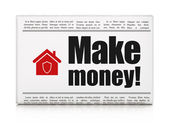 Finance concept: newspaper with Make Money! and Home — ストック写真