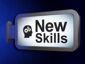 Education concept: New Skills and Head With Gears on billboard background — Stock Photo