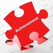 Education concept: Achievement on puzzle background — Stock fotografie