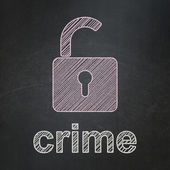 Security concept: Opened Padlock and Crime on chalkboard background — Foto de Stock