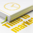 Timeline concept: book Clock, Time to Market on white background — Stock Photo