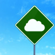 Cloud technology concept: Cloud on road sign background — Stock Photo