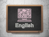 Education concept: Computer Pc and English on chalkboard background — Stock Photo