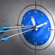 Timeline concept: arrows in Clock target on wall background — Stok fotoğraf