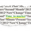 Foto Stock: Timeline concept: Time to Market on Paper background