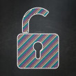 Data concept: Opened Padlock on chalkboard background — Foto Stock