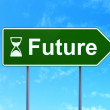 Timeline concept: Future and Hourglass on road sign background — Stock Photo