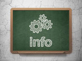Data concept: Gears and Info on chalkboard background — Stock Photo