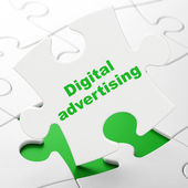 Marketing concept: Digital Advertising on puzzle background — Foto de Stock