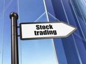 Business concept: sign Stock Trading on Building background — Zdjęcie stockowe