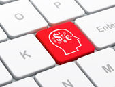 Advertising concept: Head With Finance Symbol on computer keyboard background — Stock Photo