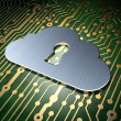 Cloud computing concept: Cloud With Keyhole on circuit board background — Stock Photo